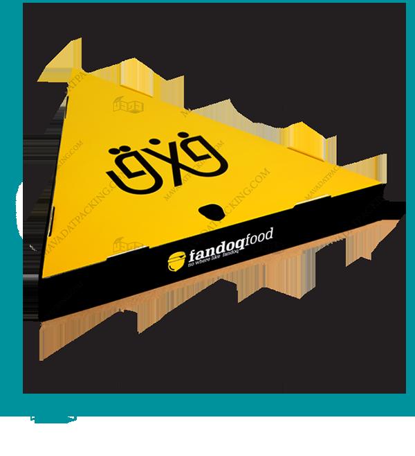 جعبه پیتزا مثلثی با زیره سه لایه و رویه ایندربرد