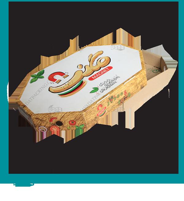 جعبه پیتزا ترکیبی با زیره ای فلوت و رویه ایندربرد